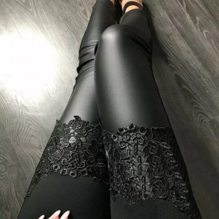 Calça estilo Vivi Guedes Legging Detalhe Crochet Ref 7829