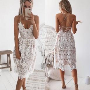 Vestido Curto Crochet Branco Réveillon Ref 7834