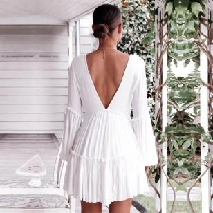 Vestido Branco Manga Longa Réveillon Ref 7837