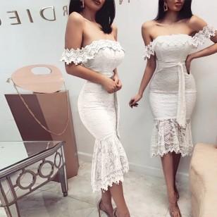 Vestido Midi Renda Réveillon Wedding Festa Branco Ref 7839