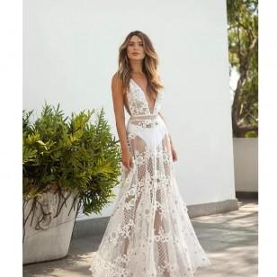 Vestido Longo para Reveillon Decote em V Wedding Ref 7830