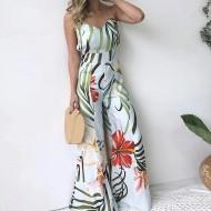 Macacão Estampado Barra Larga Flare Pantalona Floral Ref 7846