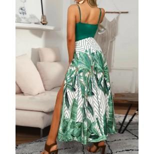 Vestido Longo Verde com Fenda Estampa Floral Ref 7849