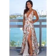 Vestido Longo Florido Decote V Ref 7853