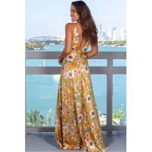 Vestido Longo Florido Decote V Ref 7855