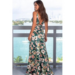 Vestido Longo Florido Decote V Ref 7854