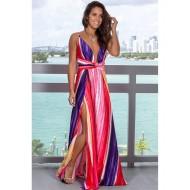 Vestido Longo Florido Decote V Ref 7856
