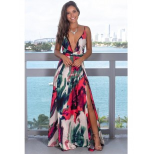 Vestido Longo Florido Decote V Ref 7857