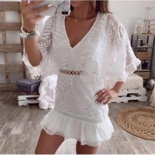 Vestido Branco de Renda Crochê Ref 7862