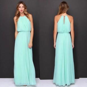 Vestido Azul Serenety de Festa em Chiffon Plissado Longo Ref 7864