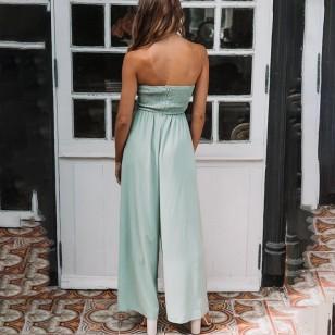 Macacão Verde Pantalona Barra Larga Ref 7515