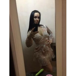 Vestido Manga Longa Chiffon de Seda Ref 7514