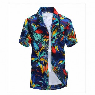 Camisa Masculina Floral de Botão Ref 7541