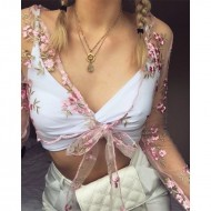 Blusa Cropped Bordada Floral Transparente Ref 7528