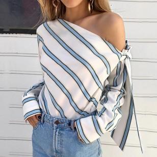 Blusa Casual Decote diagonal listrada Ref 7565