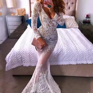 Vestido Pré Wedding Longo Renda Noivas Casamento Ref 7607