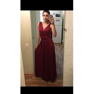 Vestido de Festa Longo Cor Marsala Ref 7614