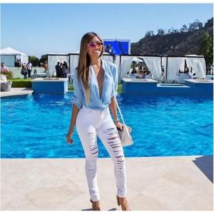 Calça Jeans Branca ou Preta Destroyed Ref 7625