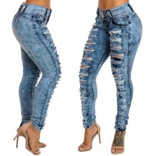 Calça Jeans Feminina Skinny Destroyed Ref 7627