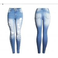 Calça Jeans Feminina Com Lateral Destroyed Ref 7628