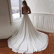 Vestido de Noiva Cetim Decote em V Ref 7633