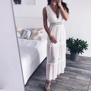 Vestido Branco de Renda Ref 7636