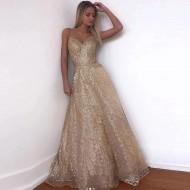 Vestido de Festa Longo Dourado Brilhante Ref 7654