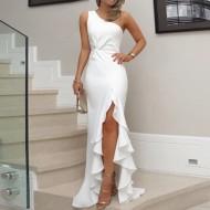Vestido Branco Fenda Drapeada Perna Ref 7663