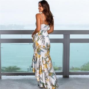 Vestido Longuete Drapeado Floral Ref 7668