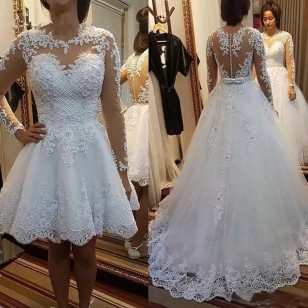 Vestido de Noiva Saia Longa Removível 2 em 1 Ref 7676