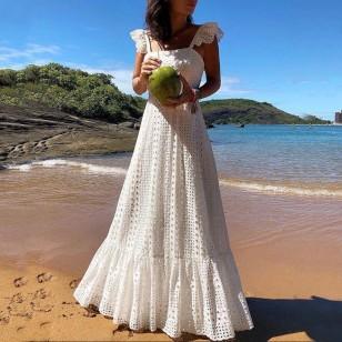 Vestido Pré Wedding Longo Crochet Ref 7677