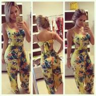 Macacão Floral Longo Amarelo Promoção Ref 7694