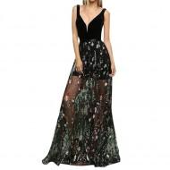 Vestido Longo Saia Bordada Floral com Transparência Ref 7704