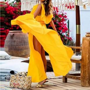 Vestido Longo Com Fenda Moda Promoção Ref 7715