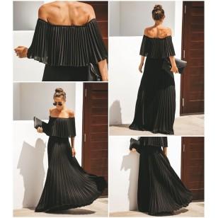 Vestido Plissado Ombro a Ombro Luxo Ref 7716