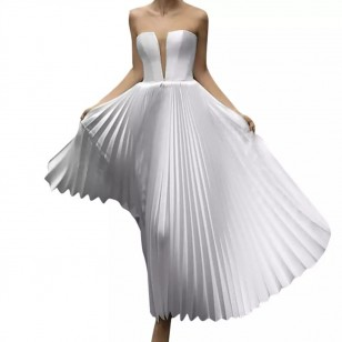Vestido Pré Wedding Plissado Longo Noivas Casamento Ref 7720
