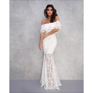 Vestido Pré Wedding Longo Renda Noivas Casamento Ref 7724