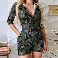 Macaquinho Anne Verde Militar Camuflagem Ref 7733