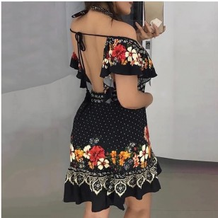 Vestido Curto Floral Manguinhas Drapeadas Babados Ref 7735