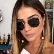 Óculos de Sol Hexagonal Black Gold Promoção Ref 7744