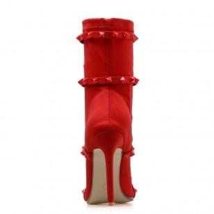 Bota de Salto Fino Preta ou Vermelha Ref 7750