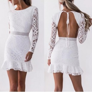 Vestido De Renda Branco Curto Manga Longa Ref 7756