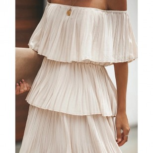 Vestido Midi Elegante Ombro a Ombro Plissado Chiffon Ref 7759