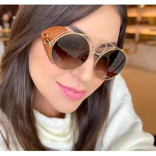 Óculos de Sol Blogueiras Tássia Naves UV Couro Ref 7748