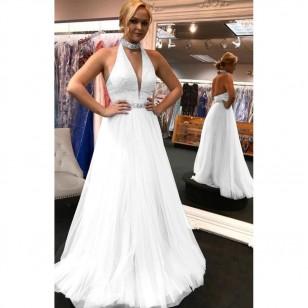 Vestido de Festa Rose ou Branco Decote V Chocker Ref 7734
