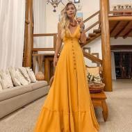 Vestido Longo Mostarda Decote em V Ref 7778