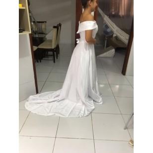 Vestido de Noiva Cetim Ombro a Ombro Ref 7632