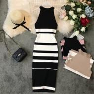 Vestido MIDI Listrado Blogueiras Moda Tendências Ref 7793