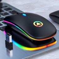 Mouse Gamer sem fio recarregável USB 2.4 GHZ