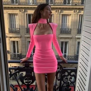 Vestido de Festa Curto Rosa Pink Camurça Ombreiras Ref 7948